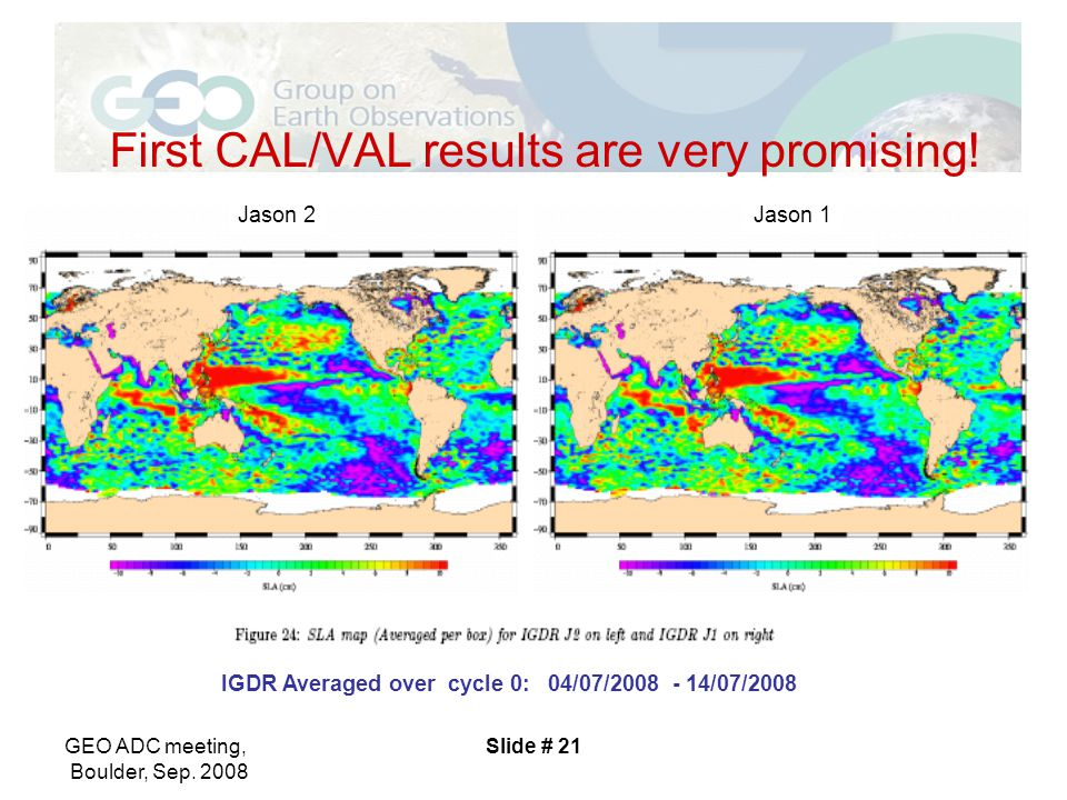 GEO ADC meeting, Boulder, Sep. 2008 Slide # 21 First CAL/VAL results are very promising.
