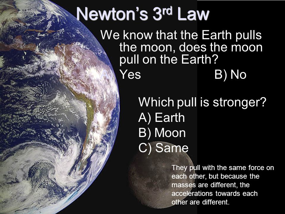 Newton's 3 rd Law We know that the Earth pulls the moon, does the moon pull on the Earth.