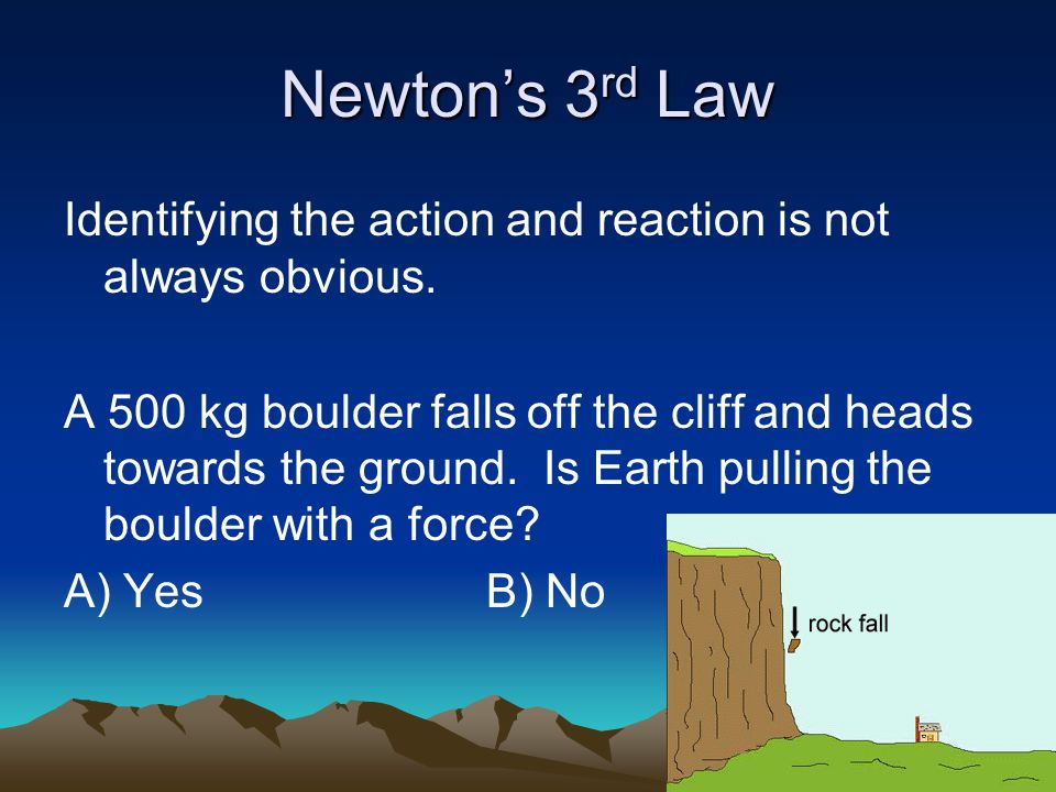 Newton's 3 rd Law Identifying the action and reaction is not always obvious.