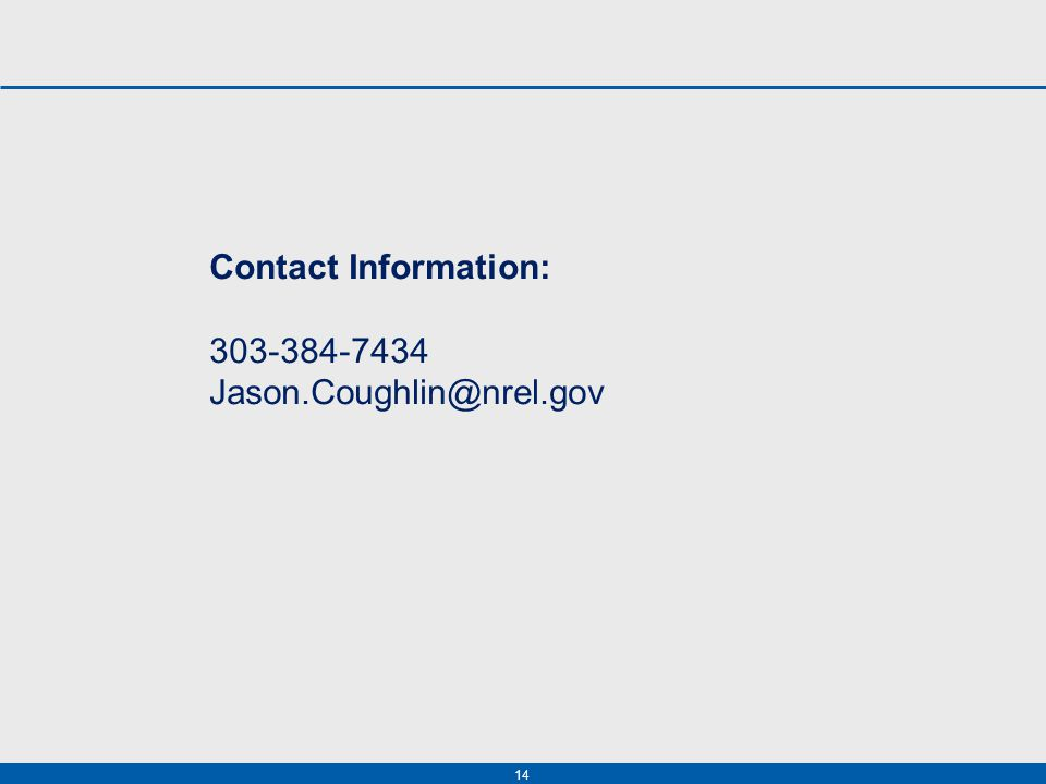 14 Contact Information: 303-384-7434 Jason.Coughlin@nrel.gov