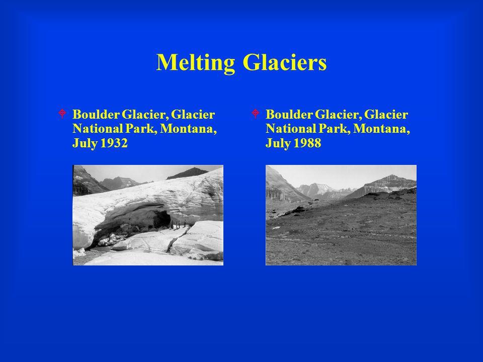 Melting Glaciers  Boulder Glacier, Glacier National Park, Montana, July 1932  Boulder Glacier, Glacier National Park, Montana, July 1988