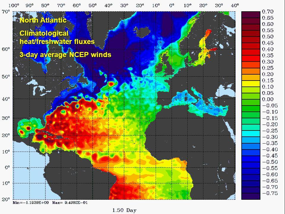 John Wilkin wilkin@marine.rutgers.edu North Atlantic Climatological heat/freshwater fluxes 3-day average NCEP winds