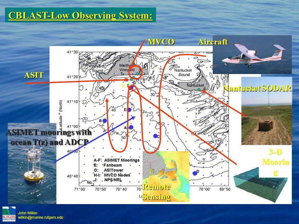 John Wilkin wilkin@marine.rutgers.eduMVCO Nantucket SODAR K ASIT ASIMET moorings with ocean T(z) and ADCP RemoteSensingAircraft3-D Moorin g CBLAST-Low Observing System: