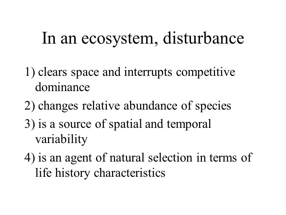 In an ecosystem, disturbance 1) clears space and interrupts competitive dominance 2) changes relative abundance of species 3) is a source of spatial a