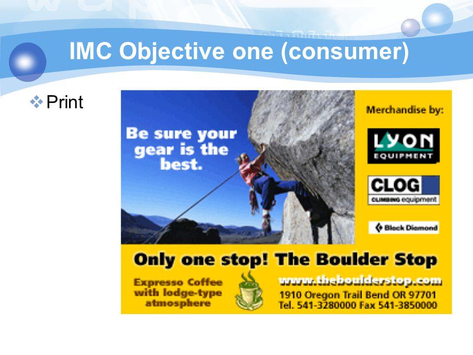 IMC Objective one (consumer)  Print
