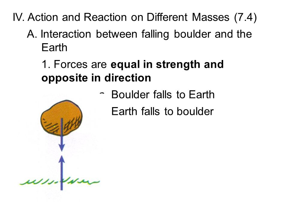 IV. Action and Reaction on Different Masses (7.4) A. Interaction between falling boulder and the Earth 1. Forces are equal in strength and opposite in