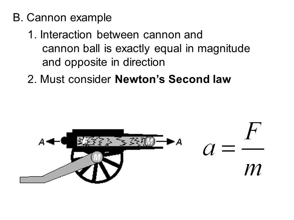B. Cannon example 1. Interaction between cannon and cannon ball is exactly equal in magnitude and opposite in direction 2. Must consider Newton's Seco