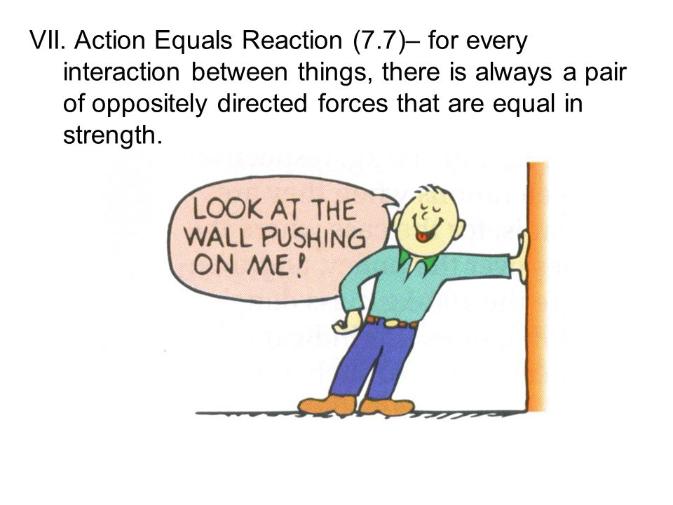 VII. Action Equals Reaction (7.7)– for every interaction between things, there is always a pair of oppositely directed forces that are equal in streng