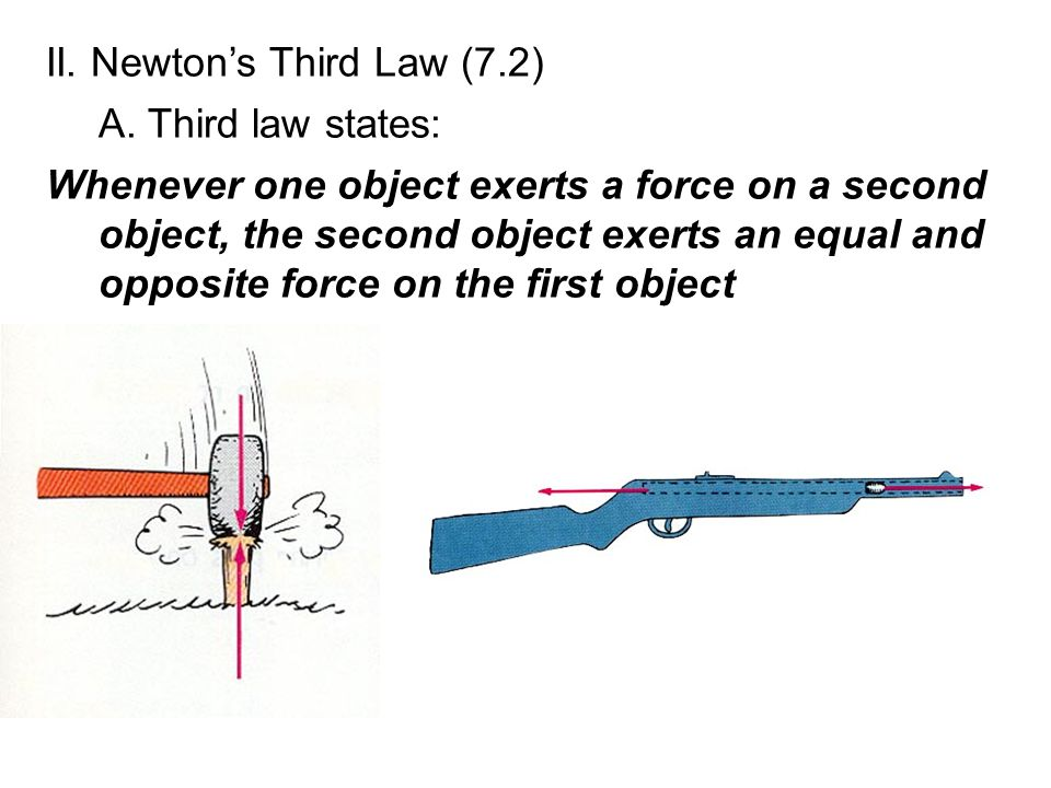 II. Newton's Third Law (7.2) A. Third law states: Whenever one object exerts a force on a second object, the second object exerts an equal and opposit