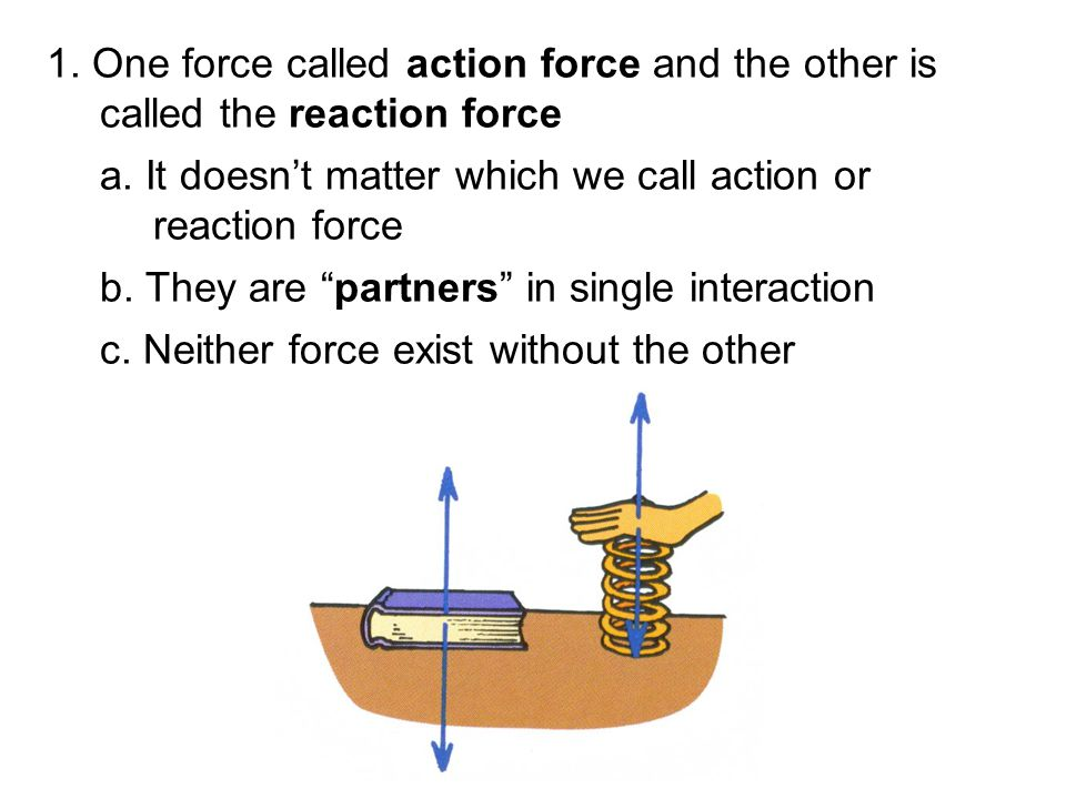 """1. One force called action force and the other is called the reaction force a. It doesn't matter which we call action or reaction force b. They are """"p"""