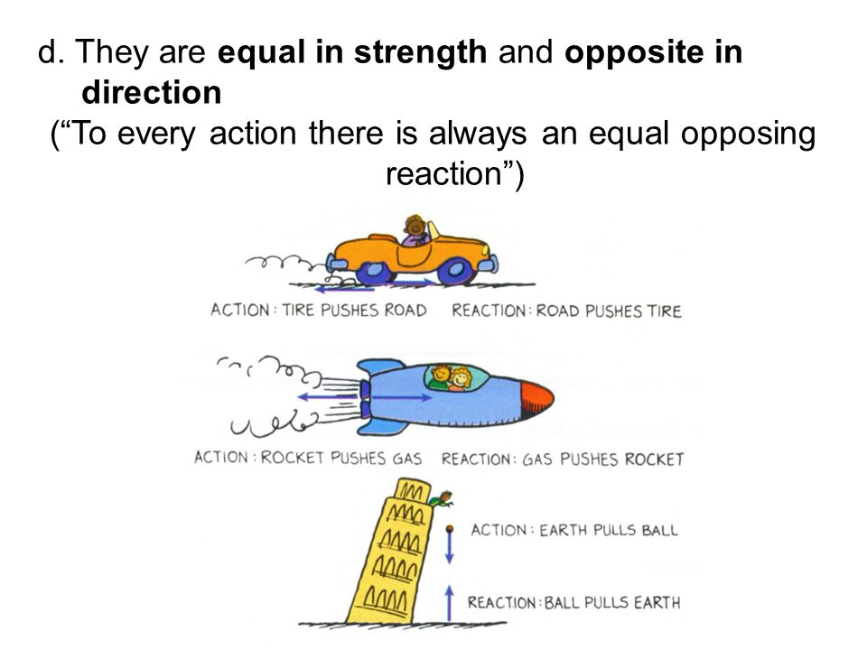 """d. They are equal in strength and opposite in direction (""""To every action there is always an equal opposing reaction"""")"""