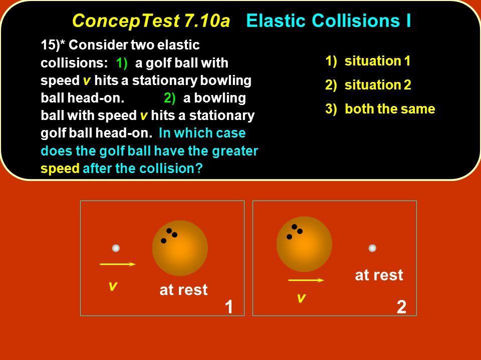 ConcepTest 7.10aElastic Collisions I ConcepTest 7.10a Elastic Collisions I v 2 v 1 at rest 1) situation 1 2) situation 2 3) both the same 15)* Consider two elastic collisions: 1) a golf ball with speed v hits a stationary bowling ball head-on.