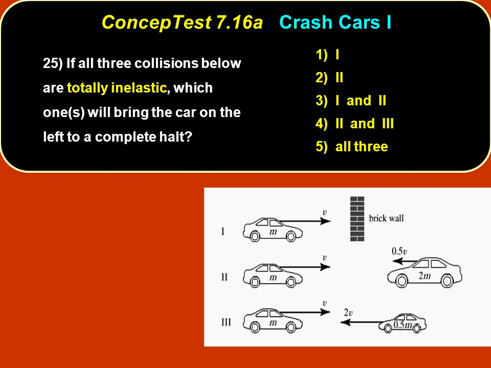 ConcepTest 7.16aCrash Cars I ConcepTest 7.16a Crash Cars I 1) I 2) II 3) I and II 4) II and III 5) all three 25) If all three collisions below are totally inelastic, which one(s) will bring the car on the left to a complete halt