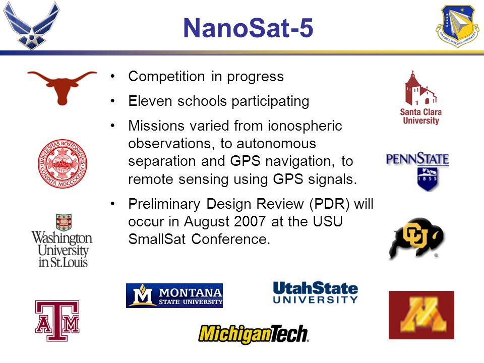 NanoSat-5 Competition in progress Eleven schools participating Missions varied from ionospheric observations, to autonomous separation and GPS navigat