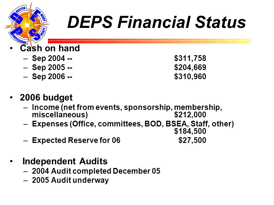 DEPS Financial Status Cash on hand –Sep 2004 -- $311,758 –Sep 2005 --$204,669 –Sep 2006 --$310,960 2006 budget –Income (net from events, sponsorship, membership, miscellaneous)$212,000 –Expenses (Office, committees, BOD, BSEA, Staff, other) $184,500 –Expected Reserve for 06 $27,500 Independent Audits –2004 Audit completed December 05 –2005 Audit underway