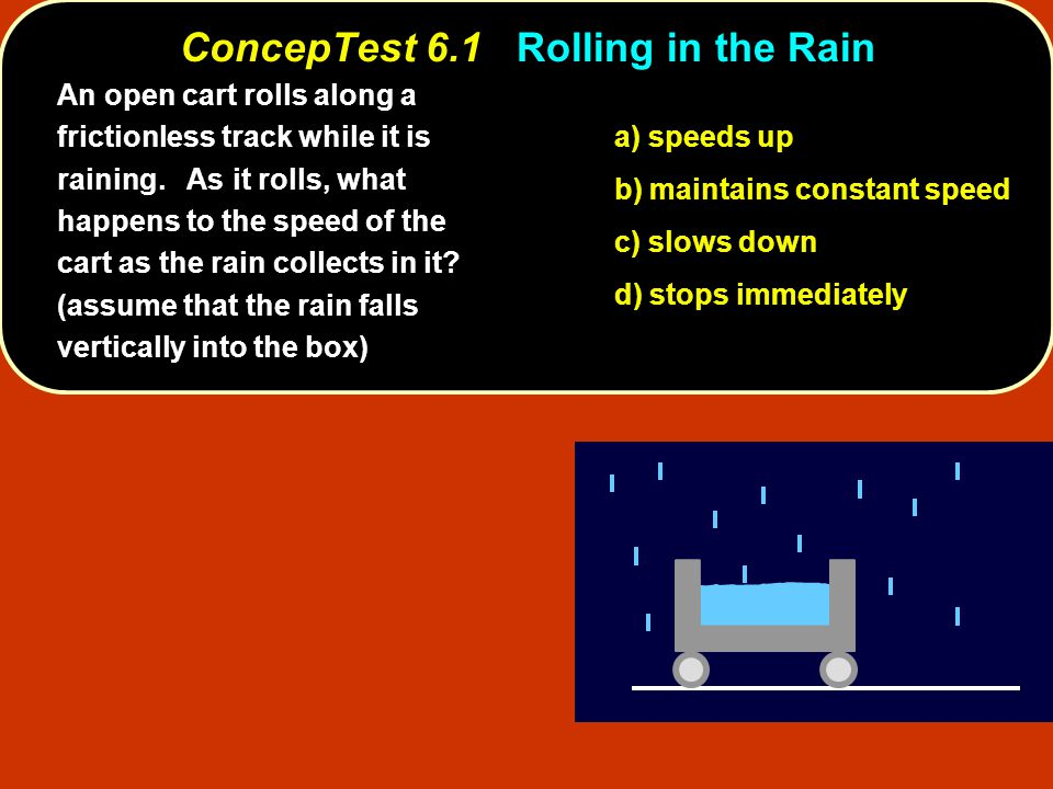 ConcepTest 6.1Rolling in the Rain ConcepTest 6.1 Rolling in the Rain a) speeds up b) maintains constant speed c) slows down d) stops immediately An open cart rolls along a frictionless track while it is raining.