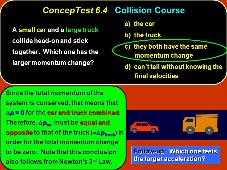  p = 0car and truck combined  p ca equal and opposite–  p truck Since the total momentum of the system is conserved, that means that  p = 0 for the car and truck combined.