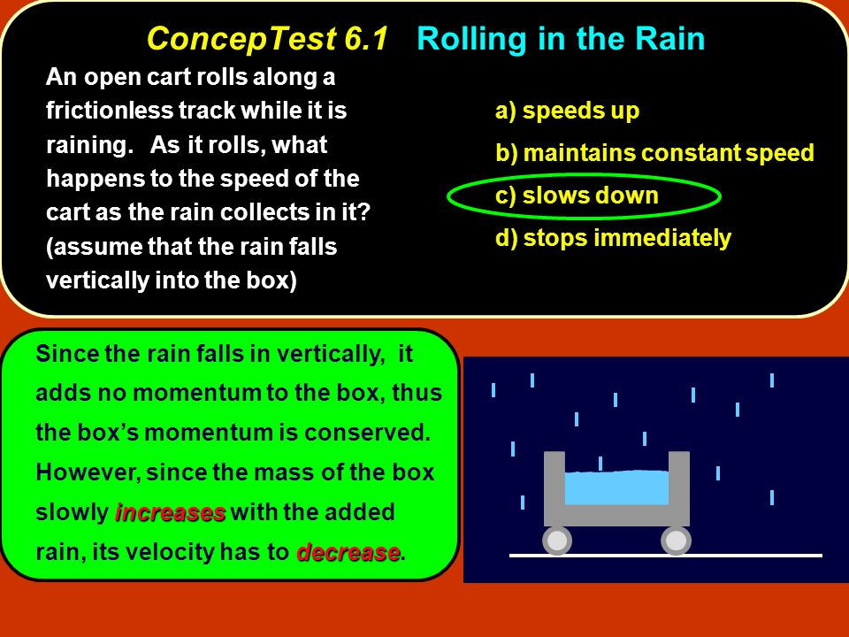 increases decrease Since the rain falls in vertically, it adds no momentum to the box, thus the box's momentum is conserved.