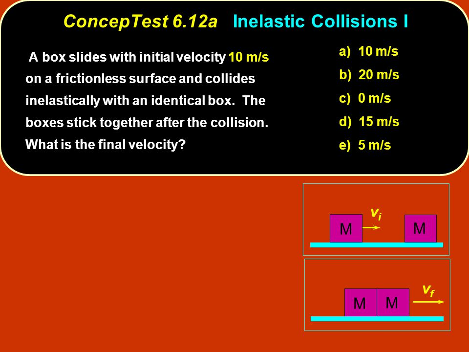ConcepTest 6.12aInelastic Collisions I ConcepTest 6.12a Inelastic Collisions I vfvf vivi M M M M A box slides with initial velocity 10 m/s on a frictionless surface and collides inelastically with an identical box.
