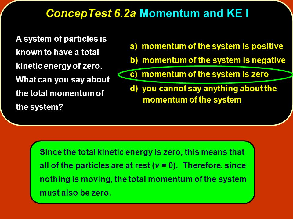 A system of particles is known to have a total momentum of zero.