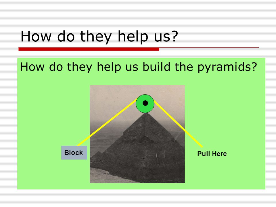 How do they help us build the pyramids How do they help us Block Pull Here