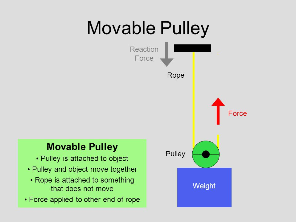 Pulley Rope Force Weight Movable Pulley Pulley is attached to object Pulley and object move together Rope is attached to something that does not move Force applied to other end of rope Reaction Force
