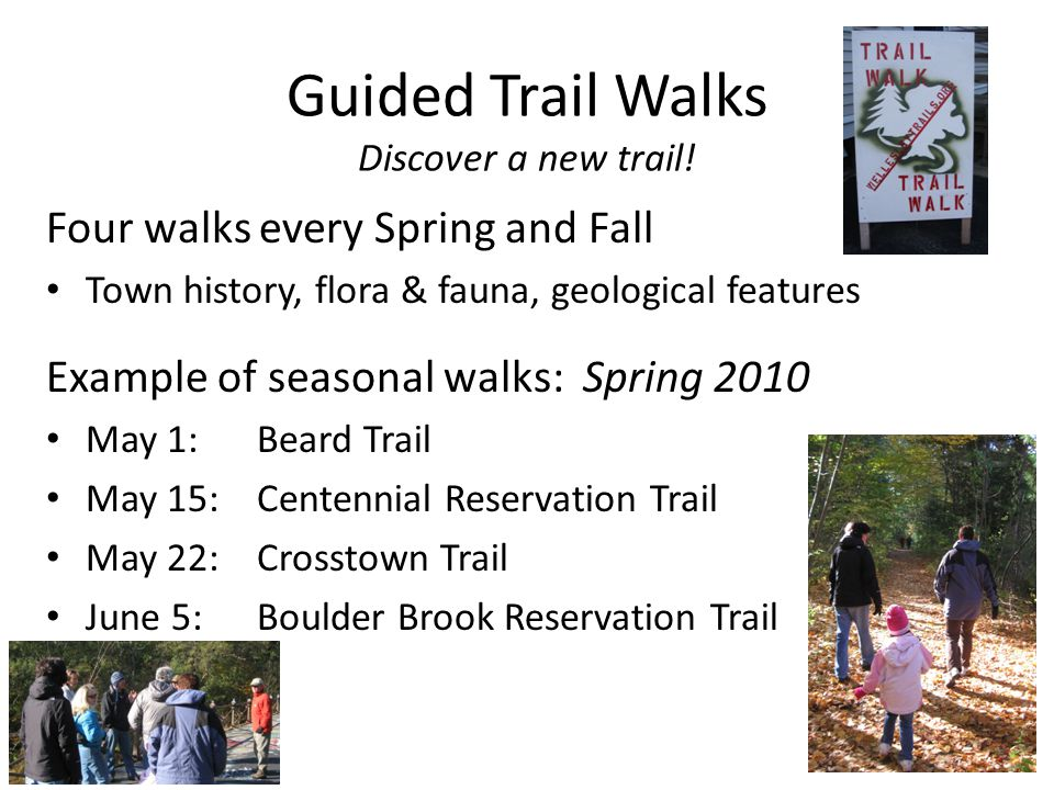 Guided Trail Walks Discover a new trail! Four walks every Spring and Fall Town history, flora & fauna, geological features Example of seasonal walks: