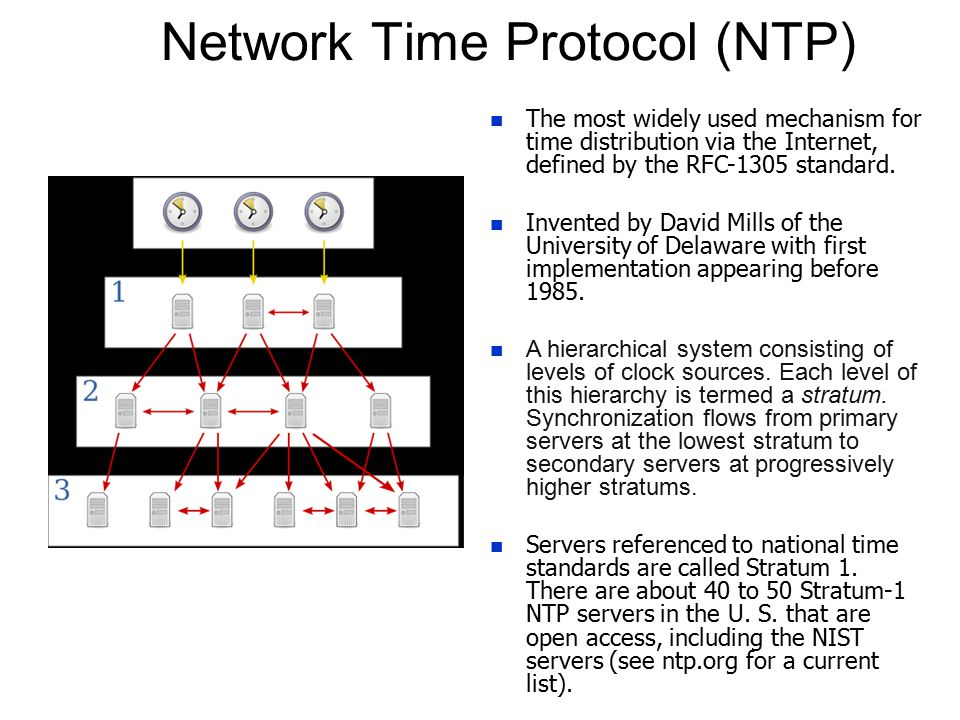How NTP transmits time information n A client can also be a server to computers at higher stratums.