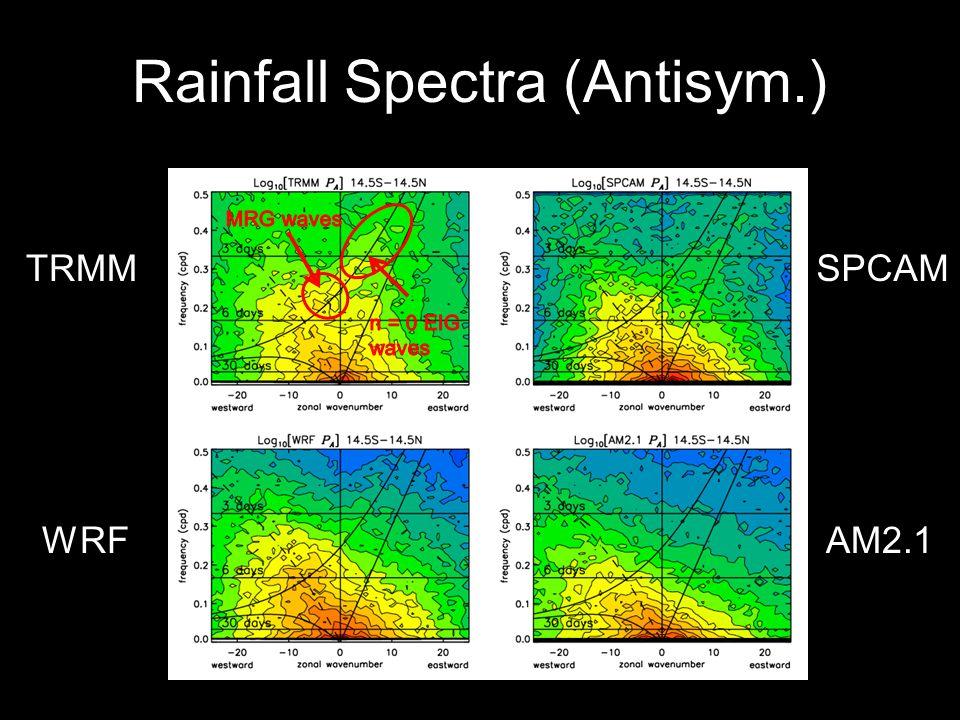 Rainfall Spectra (Antisym.) TRMM WRFAM2.1 SPCAM