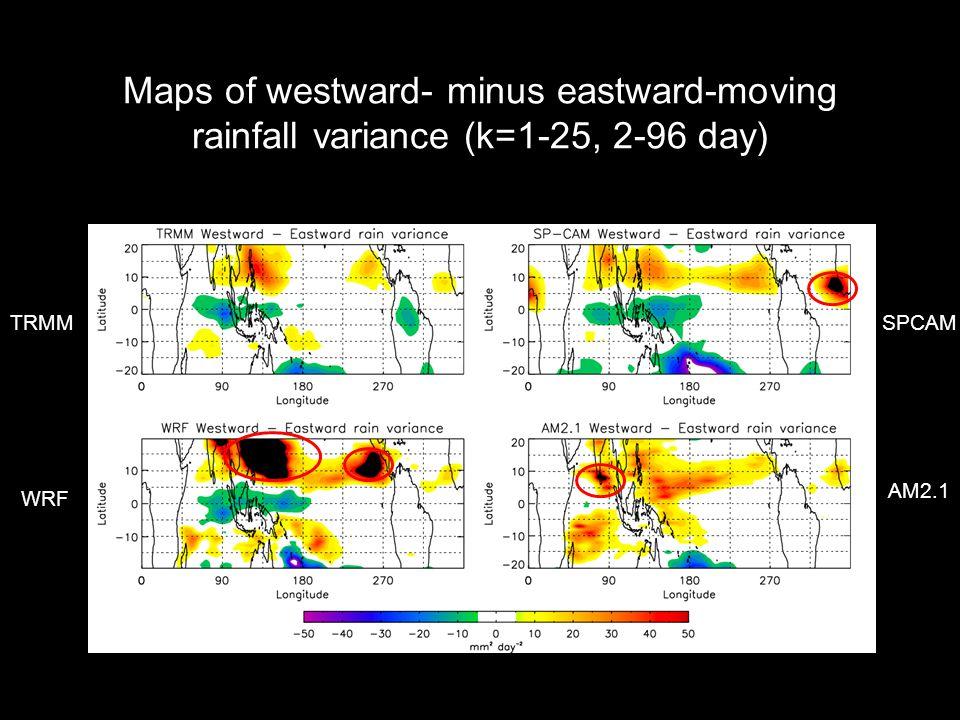 Maps of westward- minus eastward-moving rainfall variance (k=1-25, 2-96 day) TRMMSPCAM WRF AM2.1
