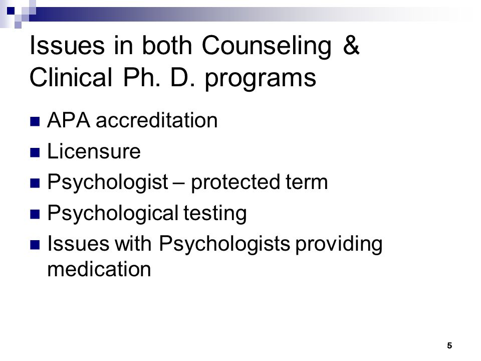 5 Issues in both Counseling & Clinical Ph. D.