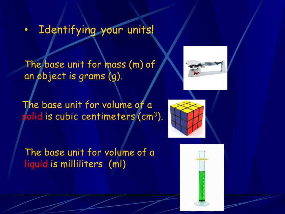 Identifying your units! The base unit for mass (m) of an object is grams (g). The base unit for volume of a solid is cubic centimeters (cm 3 ). The ba