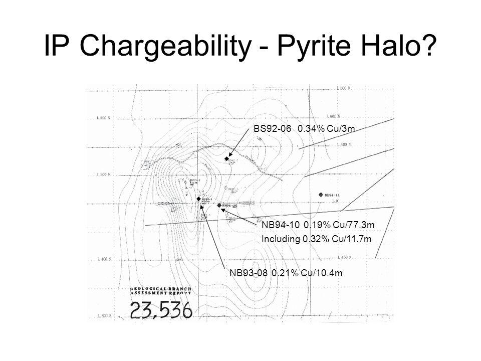 IP Chargeability - Pyrite Halo? BS92-06 0.34% Cu/3m NB93-08 0.21% Cu/10.4m NB94-10 0.19% Cu/77.3m Including 0.32% Cu/11.7m