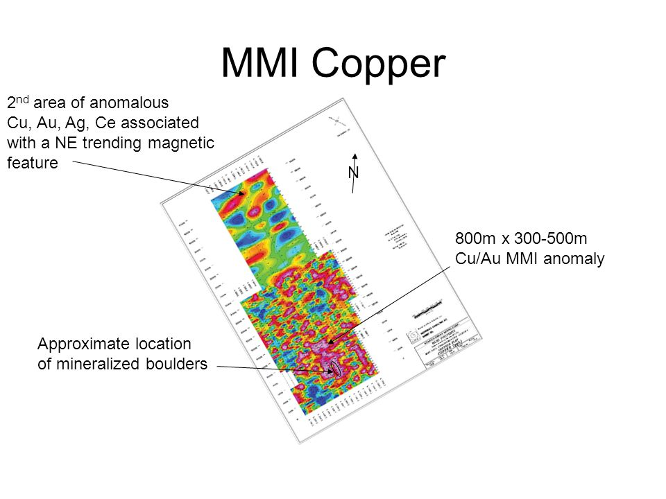 MMI Copper N Approximate location of mineralized boulders 800m x 300-500m Cu/Au MMI anomaly 2 nd area of anomalous Cu, Au, Ag, Ce associated with a NE trending magnetic feature