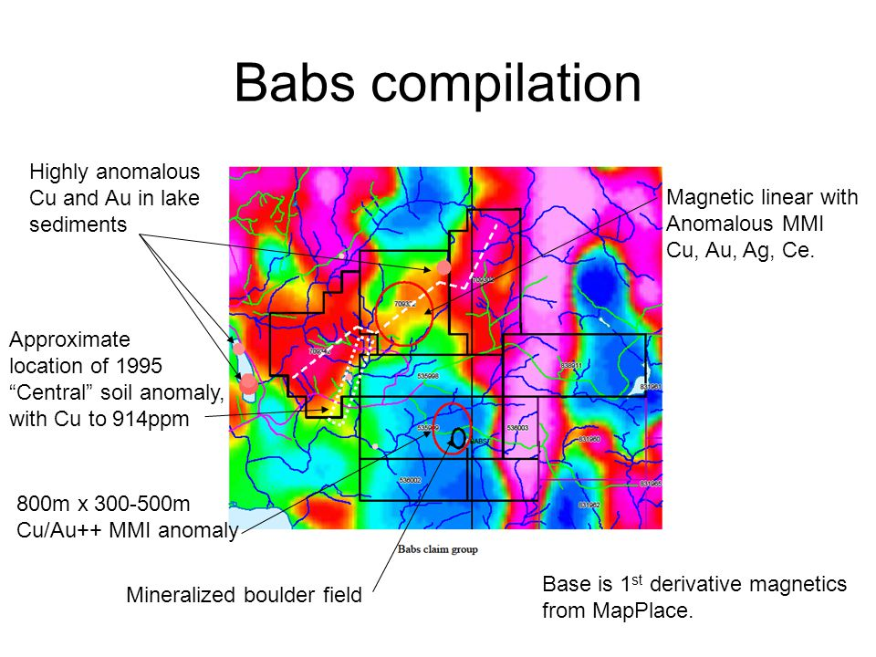 Babs compilation Highly anomalous Cu and Au in lake sediments 800m x 300-500m Cu/Au++ MMI anomaly Mineralized boulder field Magnetic linear with Anoma