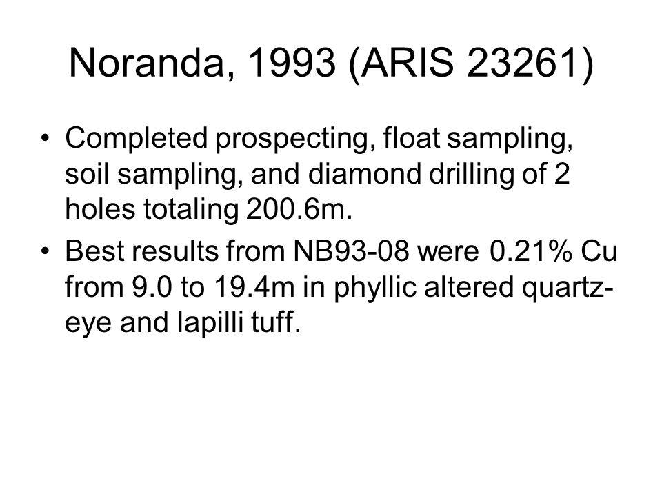 Noranda, 1993 (ARIS 23261) Completed prospecting, float sampling, soil sampling, and diamond drilling of 2 holes totaling 200.6m.