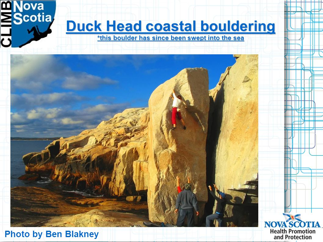 Duck Head coastal bouldering *this boulder has since been swept into the sea Photo by Ben Blakney