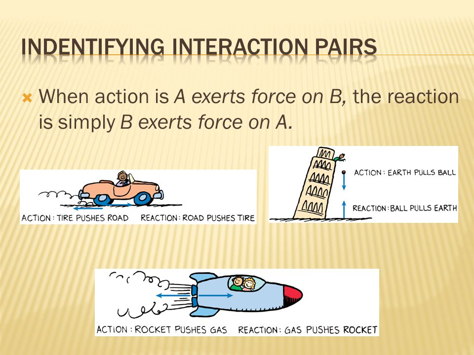 When action is A exerts force on B, the reaction is simply B exerts force on A.