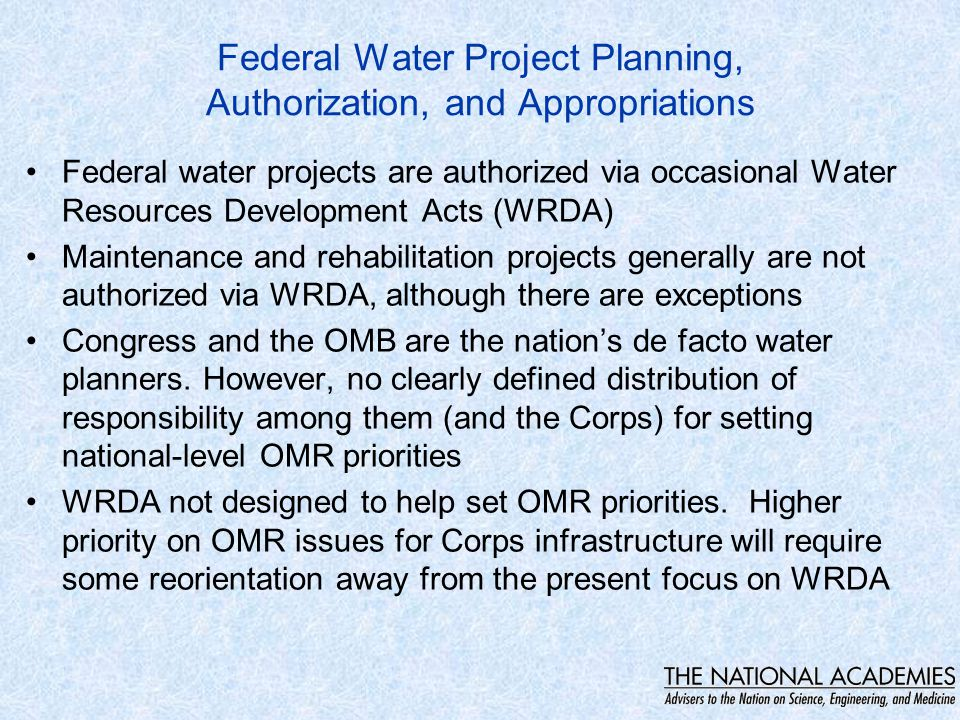 Corps Water Infrastructure and Mission Areas Navigation -- Inland and deep draft Flood Risk Management Hydropower Generation Report does not consider ecosystem assets and resources as Corps 'hard' infrastructure
