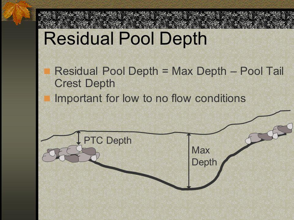 Residual Pool Depth Residual Pool Depth = Max Depth – Pool Tail Crest Depth Example: Pool Depth = 3' Pool Tail Crest = 1' Residual Pool Depth =2'