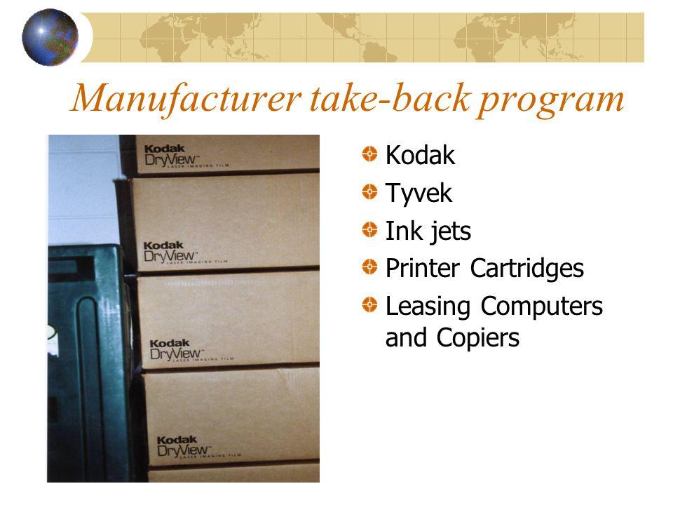 Manufacturer take-back program Kodak Tyvek Ink jets Printer Cartridges Leasing Computers and Copiers