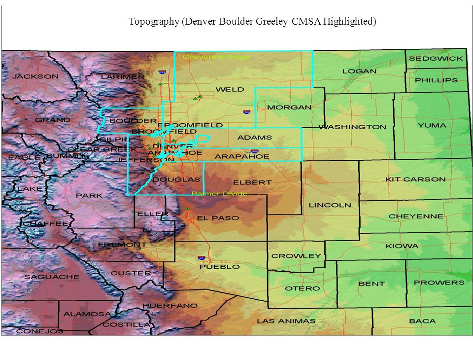 Topography (Denver Boulder Greeley CMSA Highlighted)