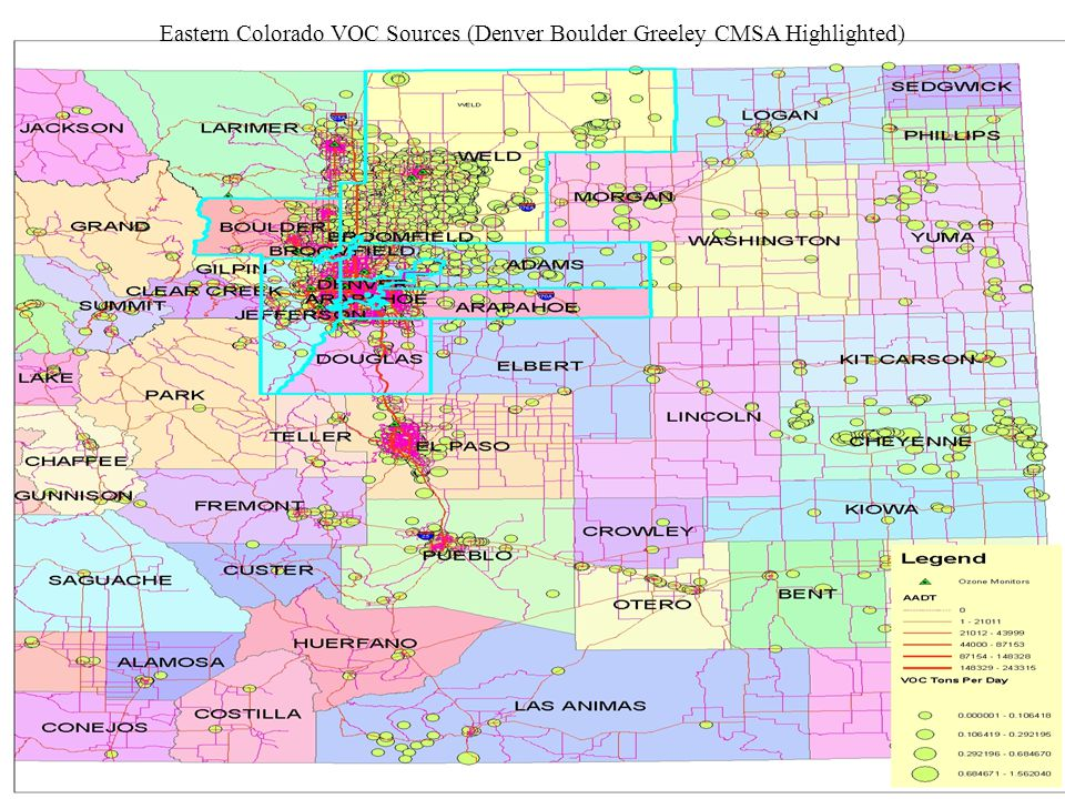 Eastern Colorado VOC Sources (Denver Boulder Greeley CMSA Highlighted)