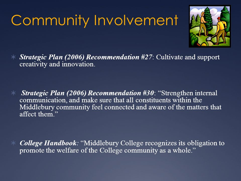 Community Involvement  Strategic Plan (2006) Recommendation #27: Cultivate and support creativity and innovation.