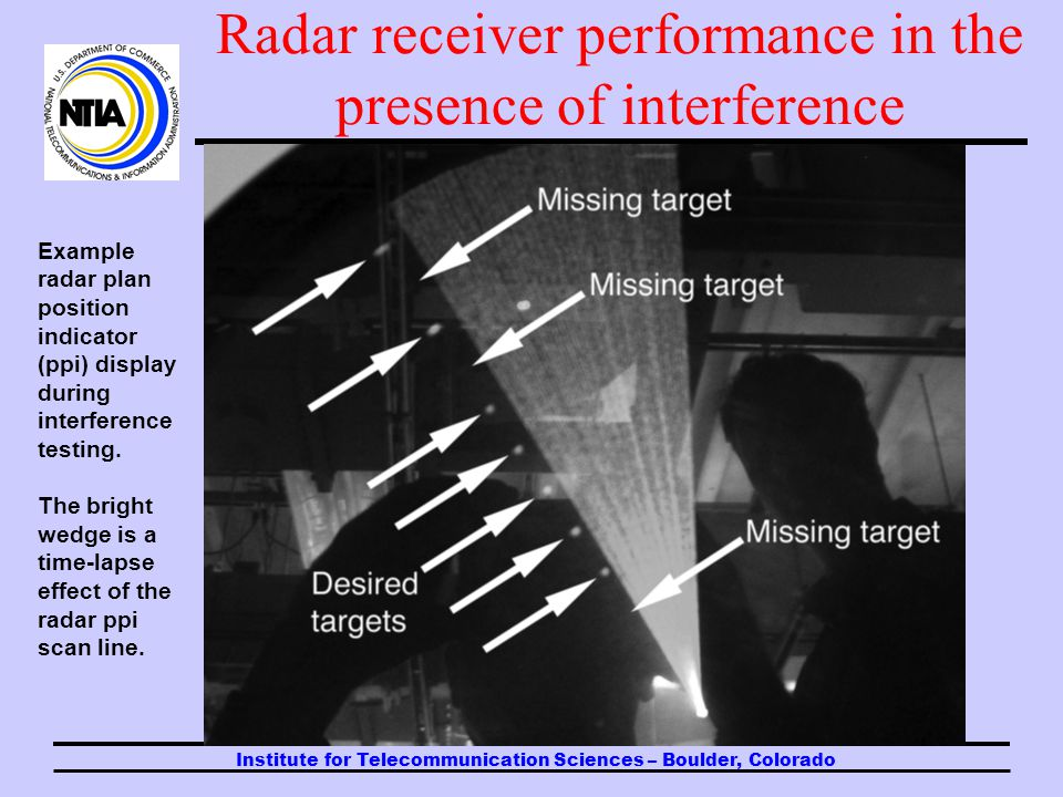 Institute for Telecommunication Sciences – Boulder, Colorado Radar receiver performance in the presence of interference In NTIA studies that have been performed in support US Administration positions in ITU-R, radars have been intentionally subjected to low levels of interference from a variety of waveforms.
