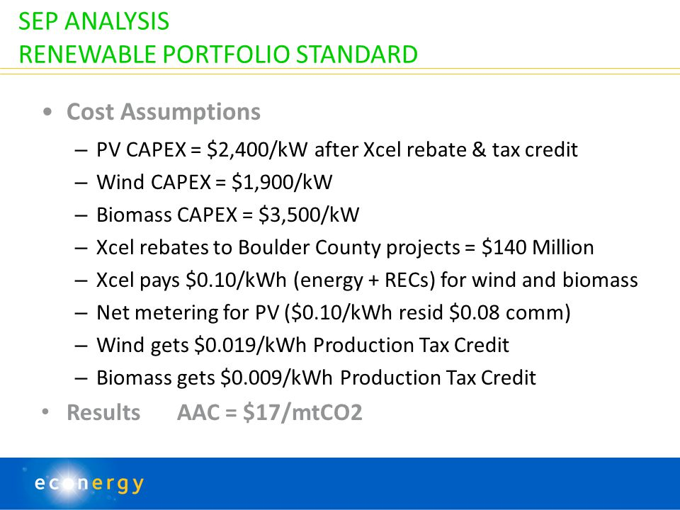 SEP ANALYSIS RENEWABLE PORTFOLIO STANDARD Cost Assumptions – PV CAPEX = $2,400/kW after Xcel rebate & tax credit – Wind CAPEX = $1,900/kW – Biomass CAPEX = $3,500/kW – Xcel rebates to Boulder County projects = $140 Million – Xcel pays $0.10/kWh (energy + RECs) for wind and biomass – Net metering for PV ($0.10/kWh resid $0.08 comm) – Wind gets $0.019/kWh Production Tax Credit – Biomass gets $0.009/kWh Production Tax Credit Results AAC = $17/mtCO2 19