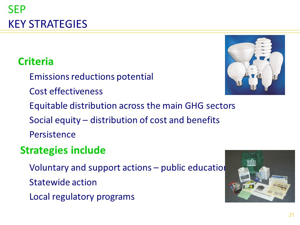 SEP KEY STRATEGIES Criteria Emissions reductions potential Cost effectiveness Equitable distribution across the main GHG sectors Social equity – distribution of cost and benefits Persistence Strategies include Voluntary and support actions – public education/awareness Statewide action Local regulatory programs 21