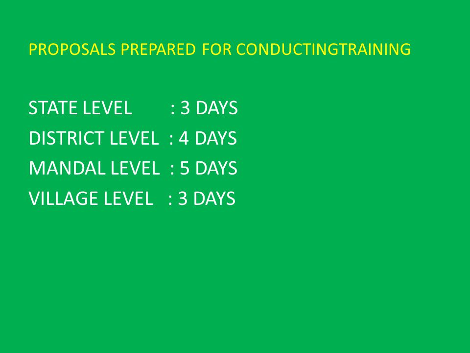 PROPOSALS PREPARED FOR CONDUCTINGTRAINING STATE LEVEL : 3 DAYS DISTRICT LEVEL : 4 DAYS MANDAL LEVEL : 5 DAYS VILLAGE LEVEL : 3 DAYS