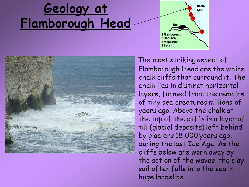 Geology at Flamborough Head The most striking aspect of Flamborough Head are the white chalk cliffs that surround it.