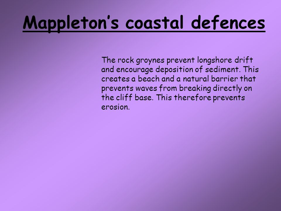 Mappleton's coastal defences The rock groynes prevent longshore drift and encourage deposition of sediment.